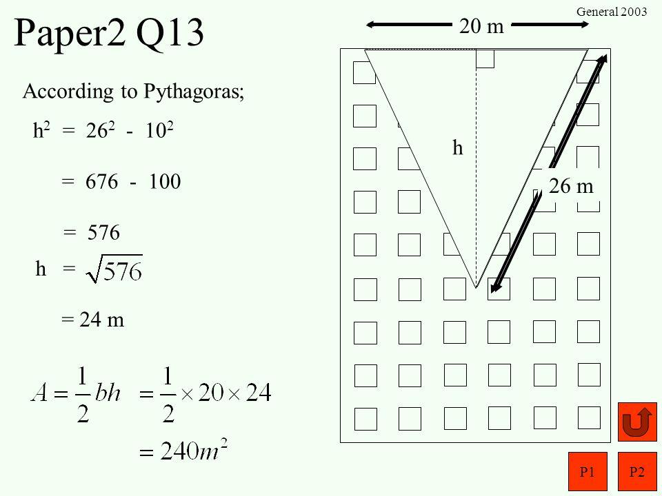 P1P2 General 2003 Paper2 Q12 7070 5km Airport 5km 7070 SOHCAHTOA O SH Opp =sin A o x 5 h = sin 7 o x 5 = 0.609 km = 0.122 x 5