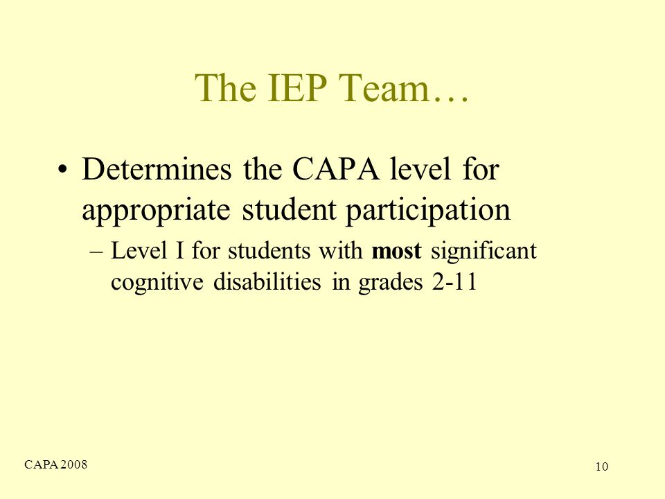 CAPA The IEP Team… Determines the CAPA level for appropriate student participation –Level I for students with most significant cognitive disabilities in grades 2-11