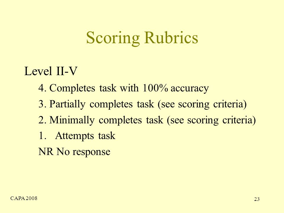 CAPA Scoring Rubrics Level II-V 4. Completes task with 100% accuracy 3.