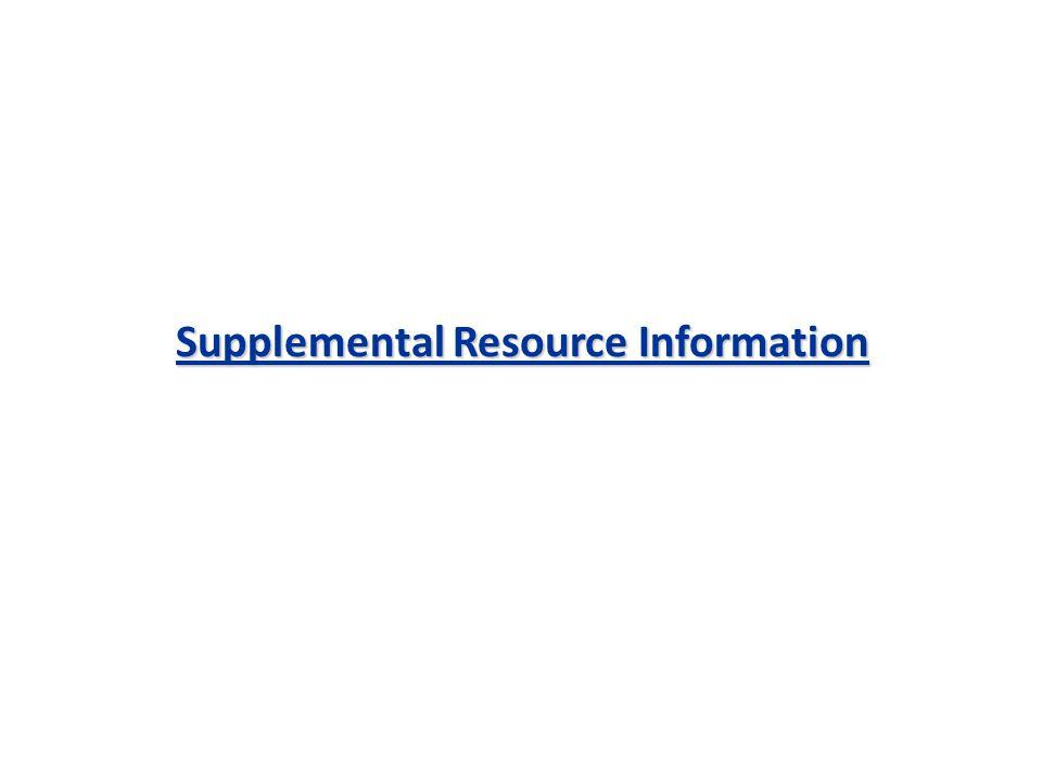 Supplemental Resource Information