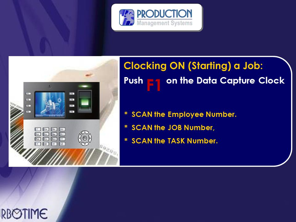 How Does It Work? Each employee receives their own unique Employee Job Number (J235) The employee simply scans his number from the provided barcode la