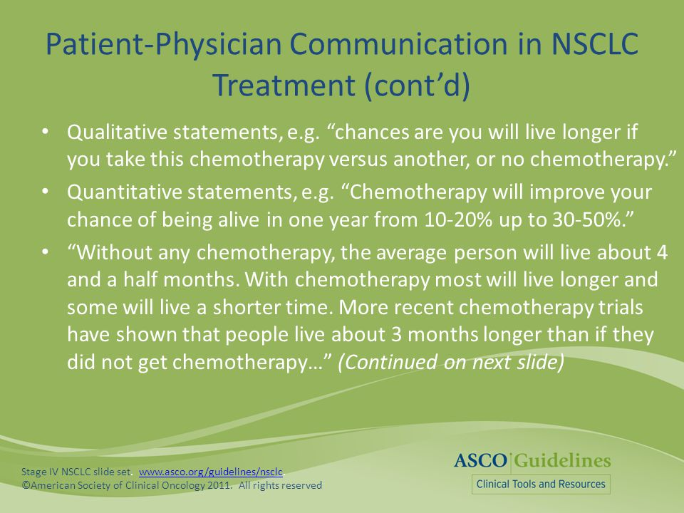 """Patient-Physician Communication in NSCLC Treatment (cont'd) Qualitative statements, e.g. """"chances are you will live longer if you take this chemothera"""