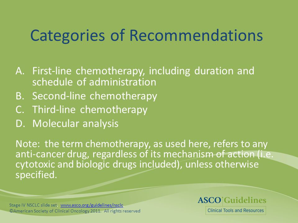 Categories of Recommendations A.First-line chemotherapy, including duration and schedule of administration B.Second-line chemotherapy C.Third-line che