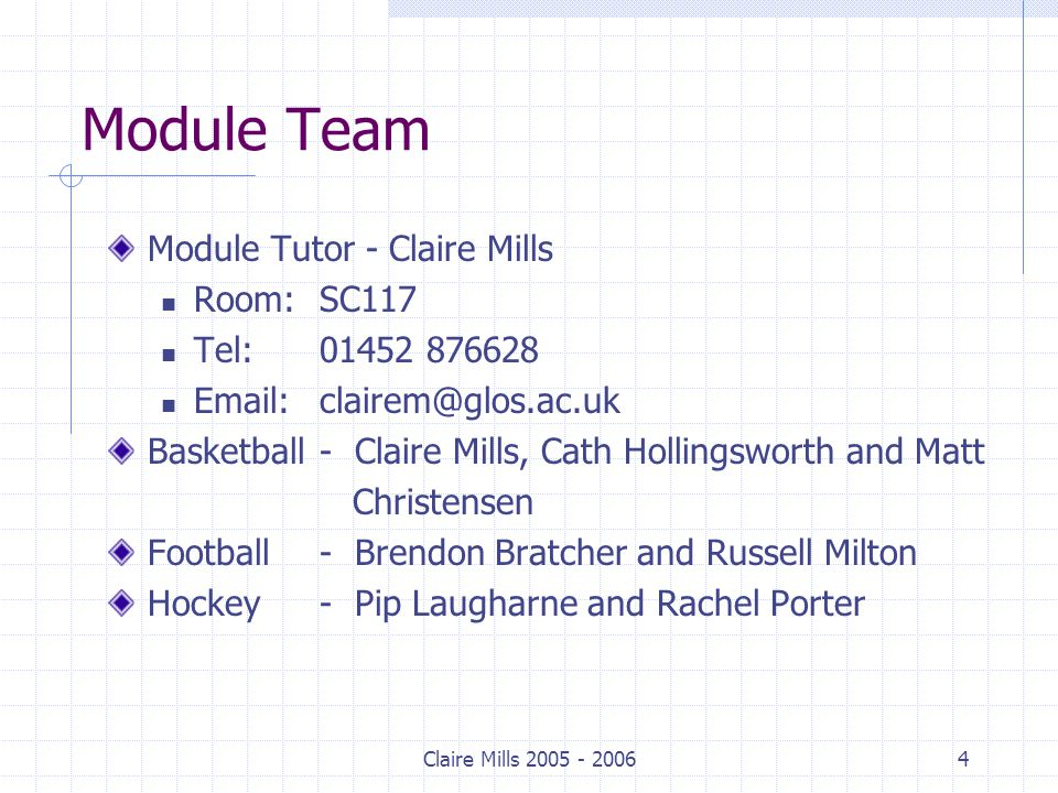 Claire Mills 2005 - 20065 Module Guide What's a module guide and how can it help you.