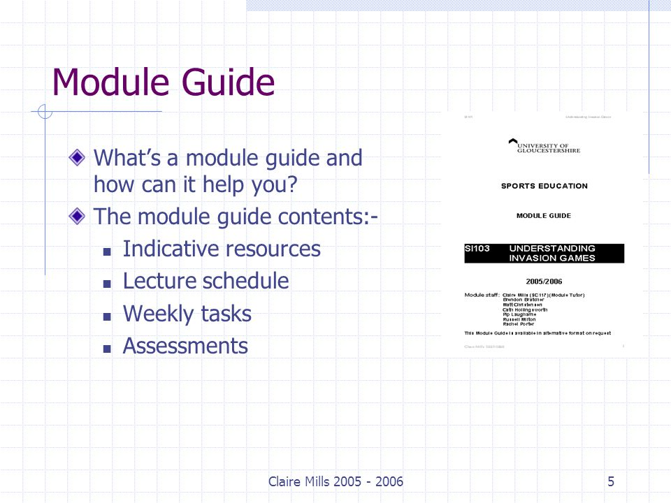 Claire Mills Module Guide What's a module guide and how can it help you.