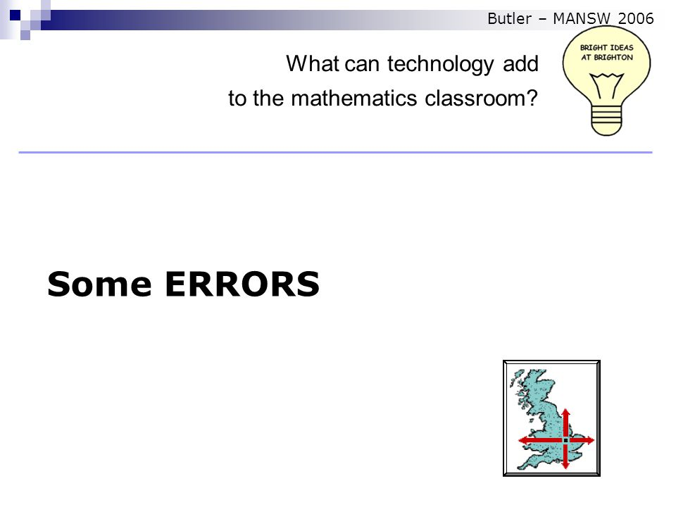 Some ERRORS What can technology add to the mathematics classroom Butler – MANSW 2006