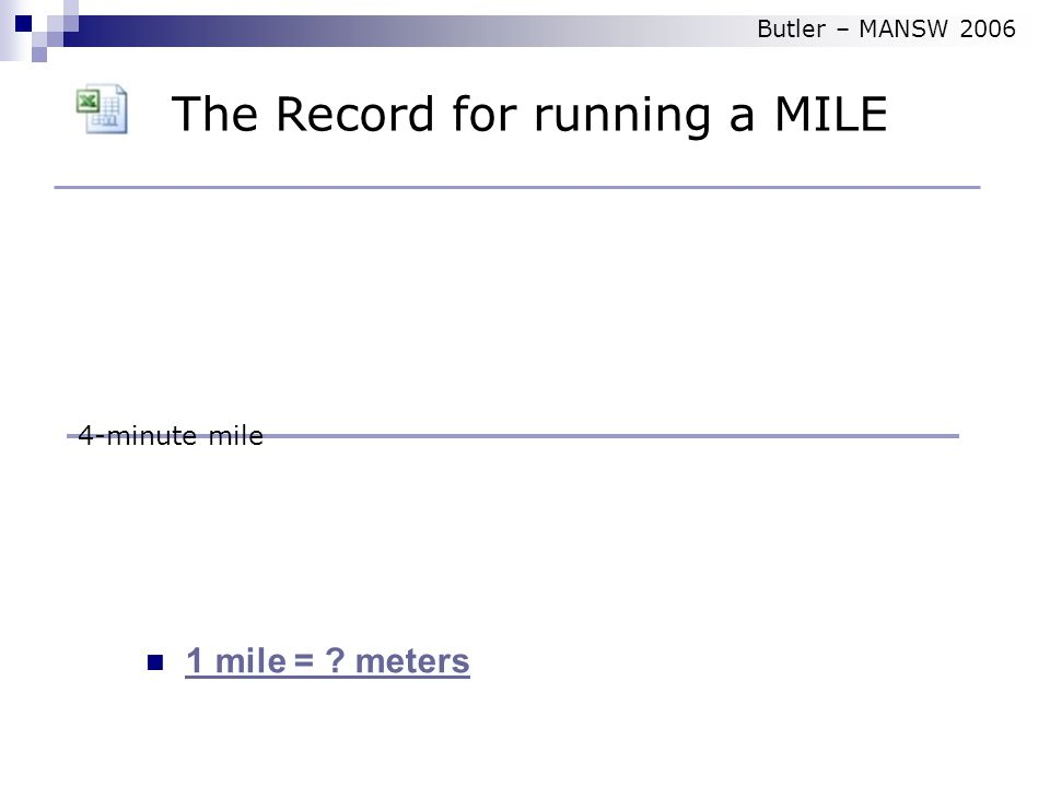 1 mile = meters 4-minute mile The Record for running a MILE Butler – MANSW 2006