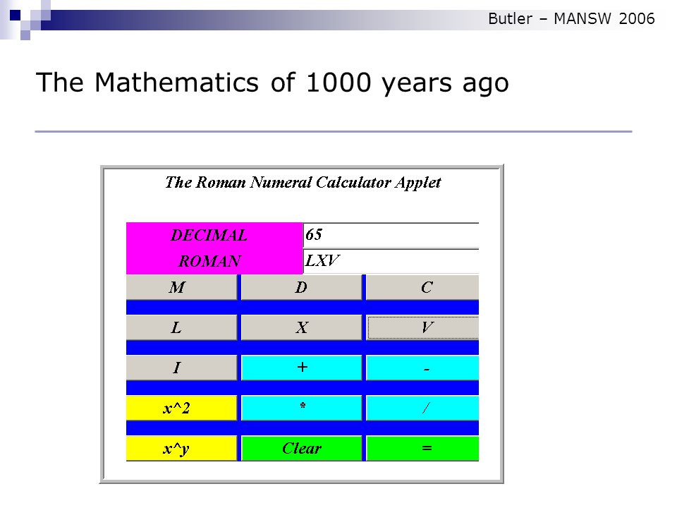 How did we count The Mathematics of 1000 years ago Butler – MANSW 2006