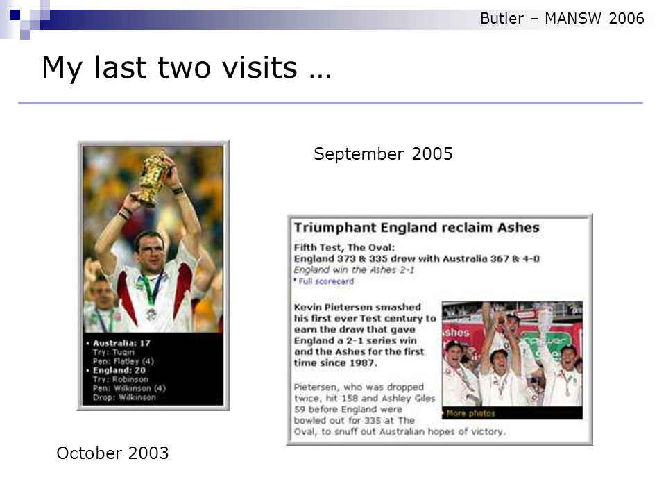 October 2003 September 2005 My last two visits … Butler – MANSW 2006
