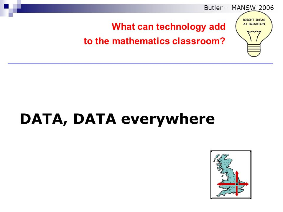 DATA, DATA everywhere What can technology add to the mathematics classroom Butler – MANSW 2006