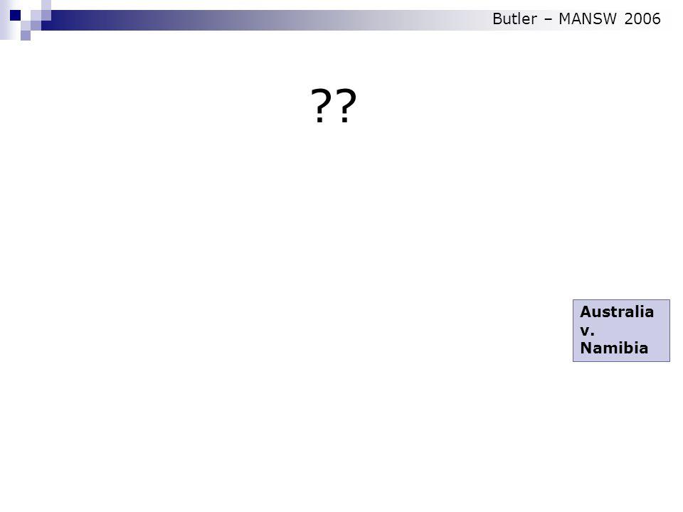 Australia v. Namibia Butler – MANSW 2006