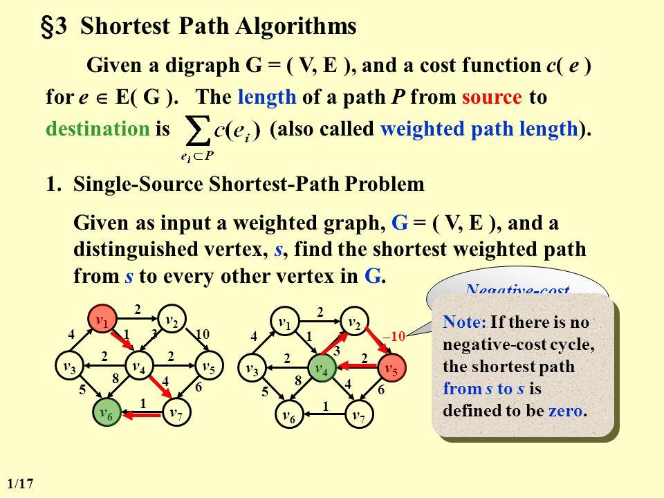 §3 Shortest Path Algorithms Given a digraph G = ( V, E ), and a cost function c( e ) for e  E( G ).
