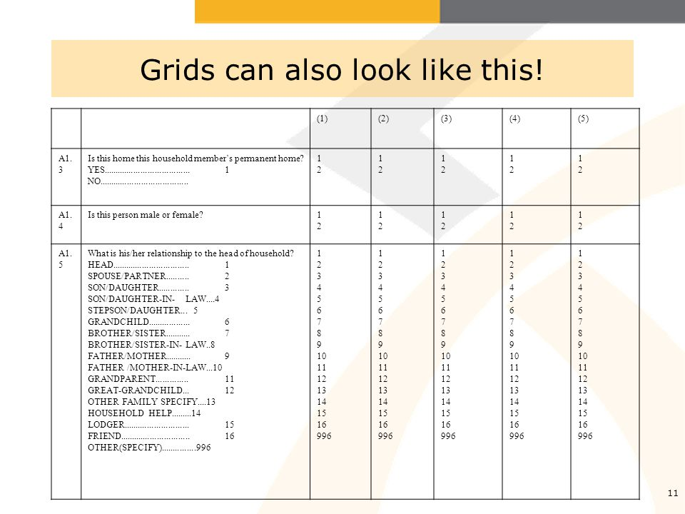 11 Grids can also look like this. (1)(2)(3)(4)(5) A1.