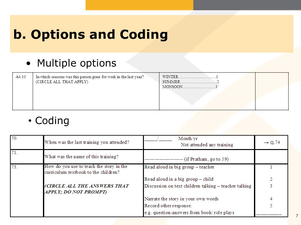 b.Options and Coding..