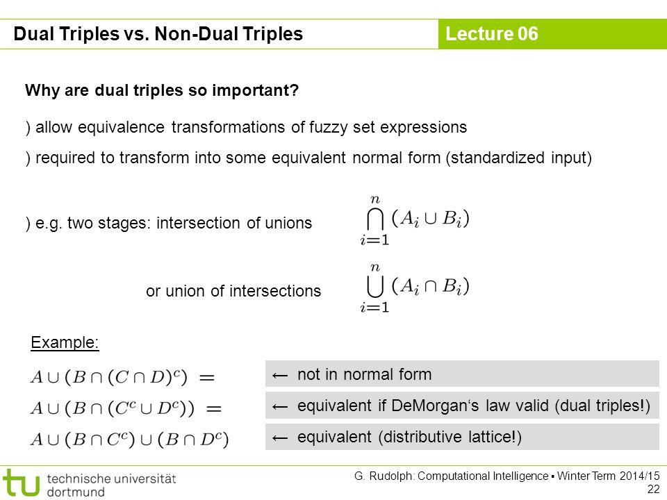 Lecture 06 G. Rudolph: Computational Intelligence ▪ Winter Term 2014/15 22 Dual Triples vs.