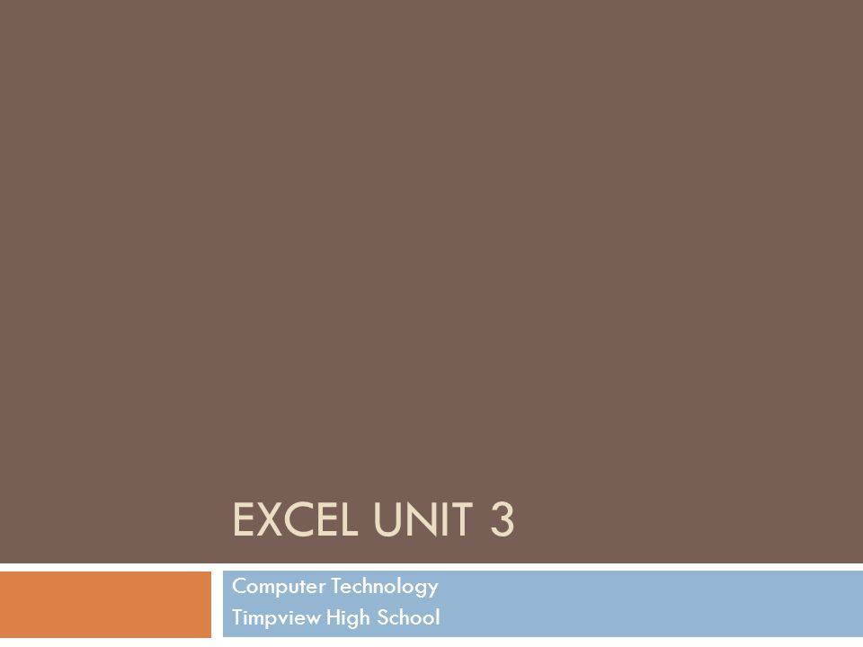 EXCEL UNIT 3 Computer Technology Timpview High School