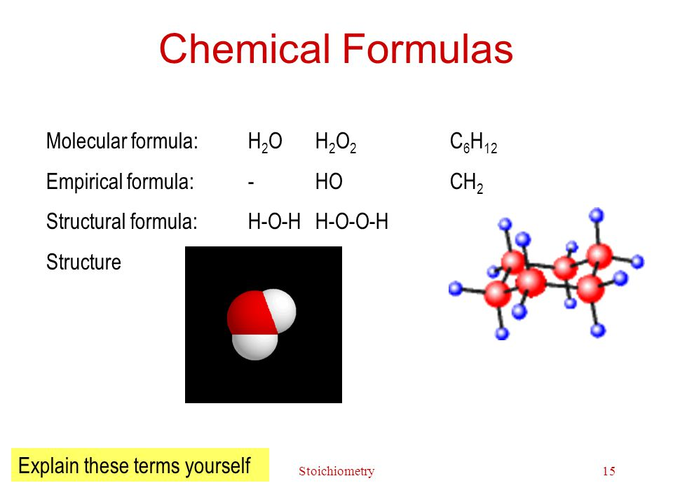 Stoichiometry15 Chemical Formulas Molecular formula: H 2 O H 2 O 2 C 6 H 12 Empirical formula: -HOCH 2 Structural formula:H-O-HH-O-O-H Structure Explain these terms yourself