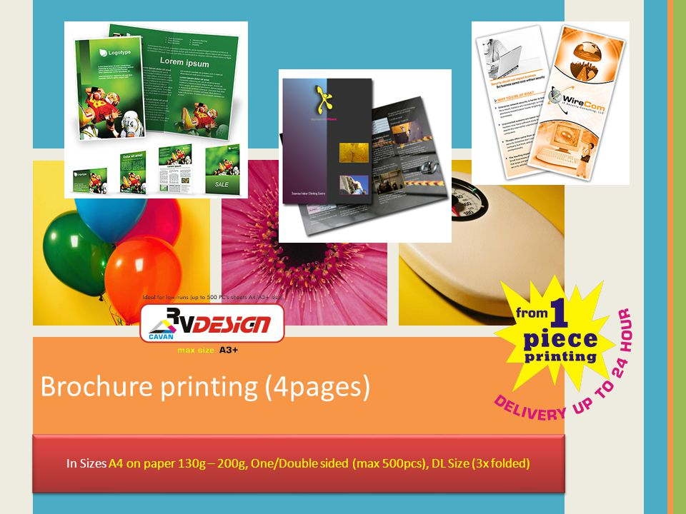 Brochure printing (4pages) In Sizes A4 on paper 130g – 200g, One/Double sided (max 500pcs), DL Size (3x folded)