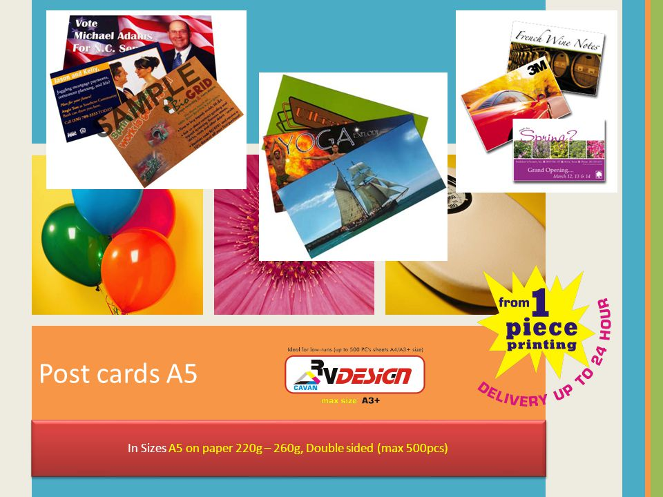 Post cards A5 In Sizes A5 on paper 220g – 260g, Double sided (max 500pcs)