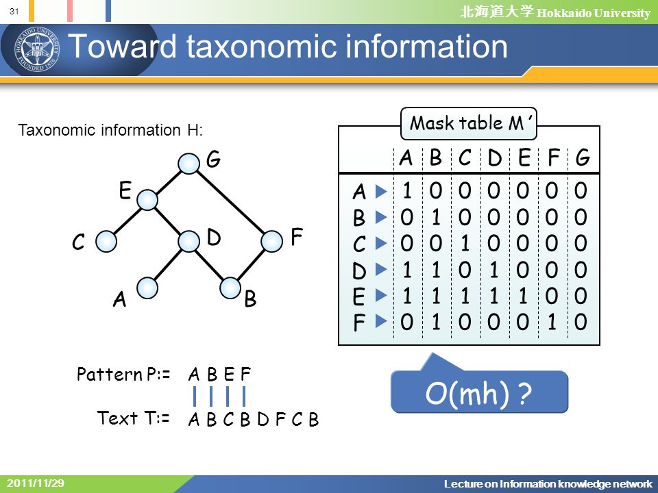 北海道大学 Hokkaido University 31 Lecture on Information knowledge network 2011/11/29 Toward taxonomic information G E C DF AB Mask table M' ABCDEFG 100110100110 ABCDEFABCDEF 010111010111 001010001010 000110000110 000010000010 000001000001 000000000000 O(mh) .