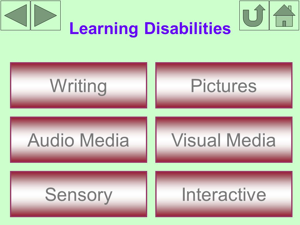 Learning Disabilities Writing Audio Media Sensory Interactive Pictures Visual Media
