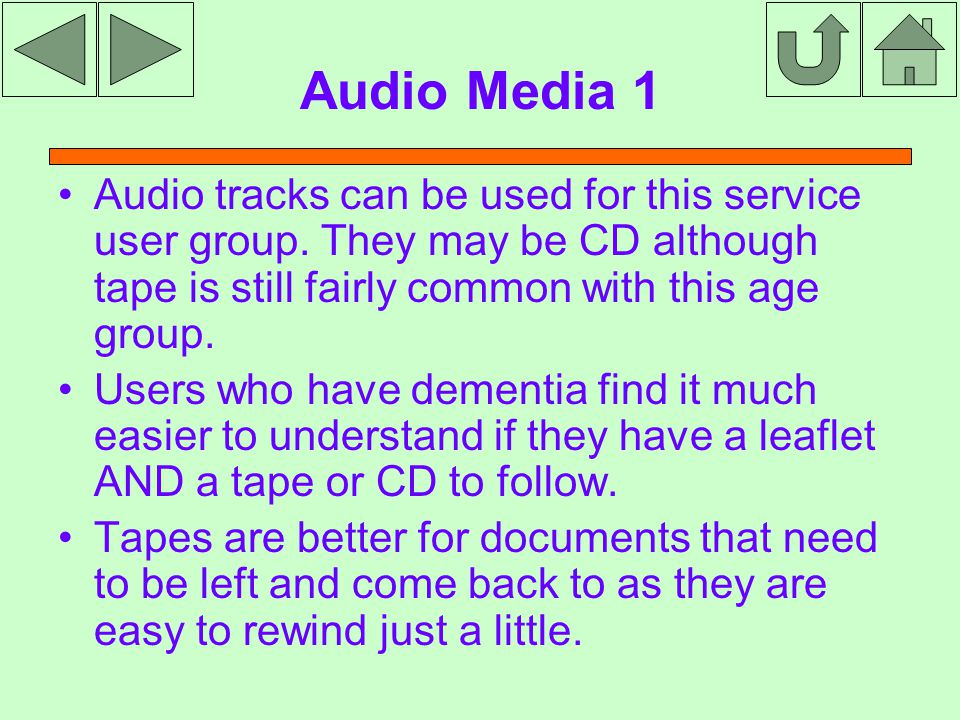 Audio Media 1 Audio tracks can be used for this service user group.