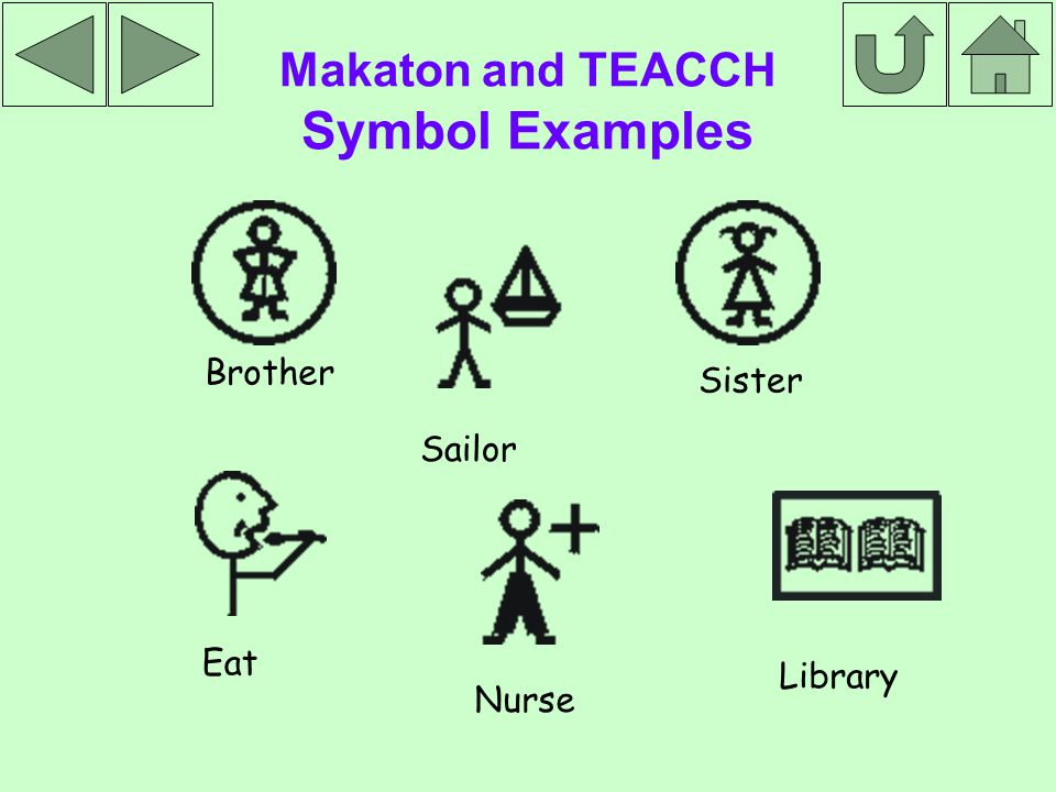 Makaton and TEACCH Symbol Examples Brother Sister Library Eat Sailor Nurse