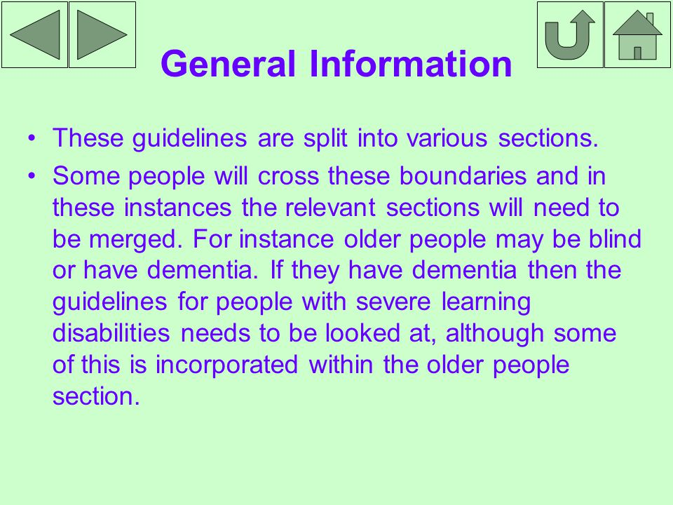 Font Sizes People who have a learning disability need text in a font size between 16 and 20.