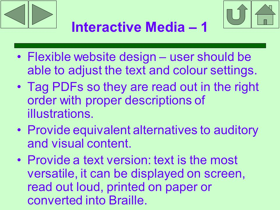 Interactive Media – 1 Flexible website design – user should be able to adjust the text and colour settings.