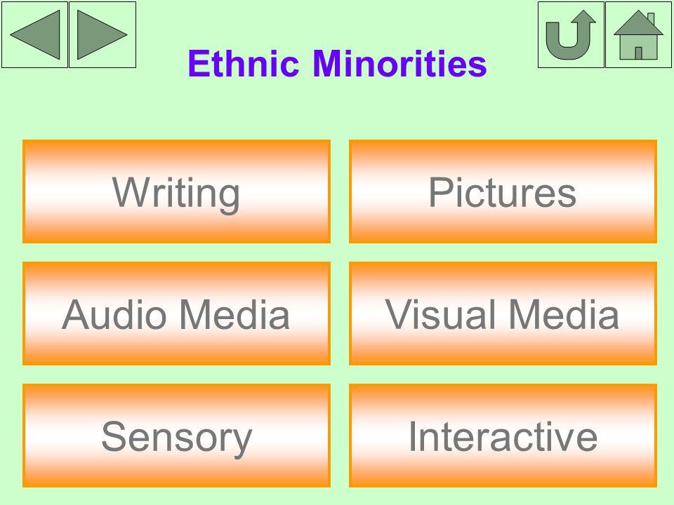 Ethnic Minorities Writing Audio Media Sensory Interactive Pictures Visual Media