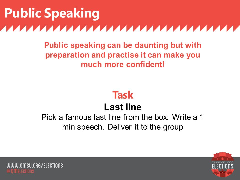 Public Speaking SLIDE TITLE Public speaking can be daunting but with preparation and practise it can make you much more confident.