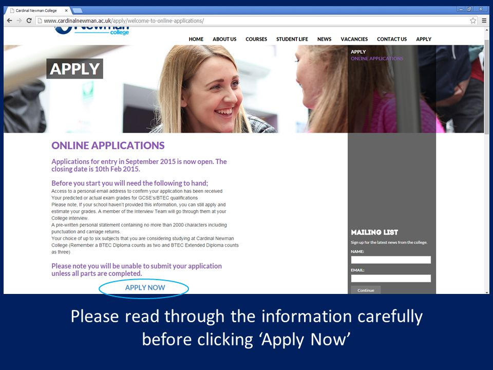 Please read through the information carefully before clicking 'Apply Now'