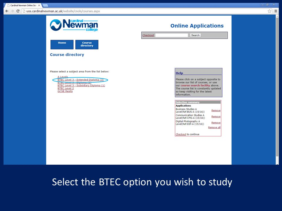 Select the BTEC option you wish to study