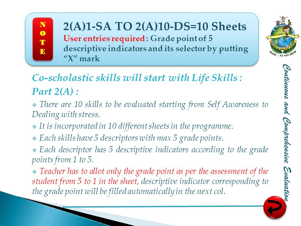Co-scholastic skills will start with Life Skills : Part 2(A) :  There are 10 skills to be evaluated starting from Self Awareness to Dealing with stress.