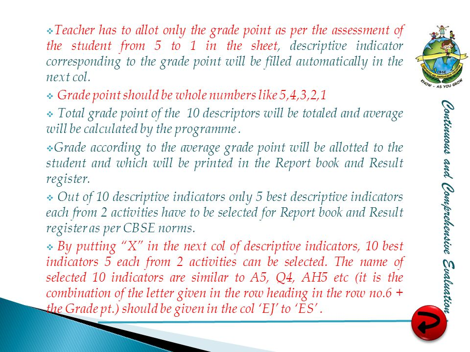  Teacher has to allot only the grade point as per the assessment of the student from 5 to 1 in the sheet, descriptive indicator corresponding to the grade point will be filled automatically in the next col.