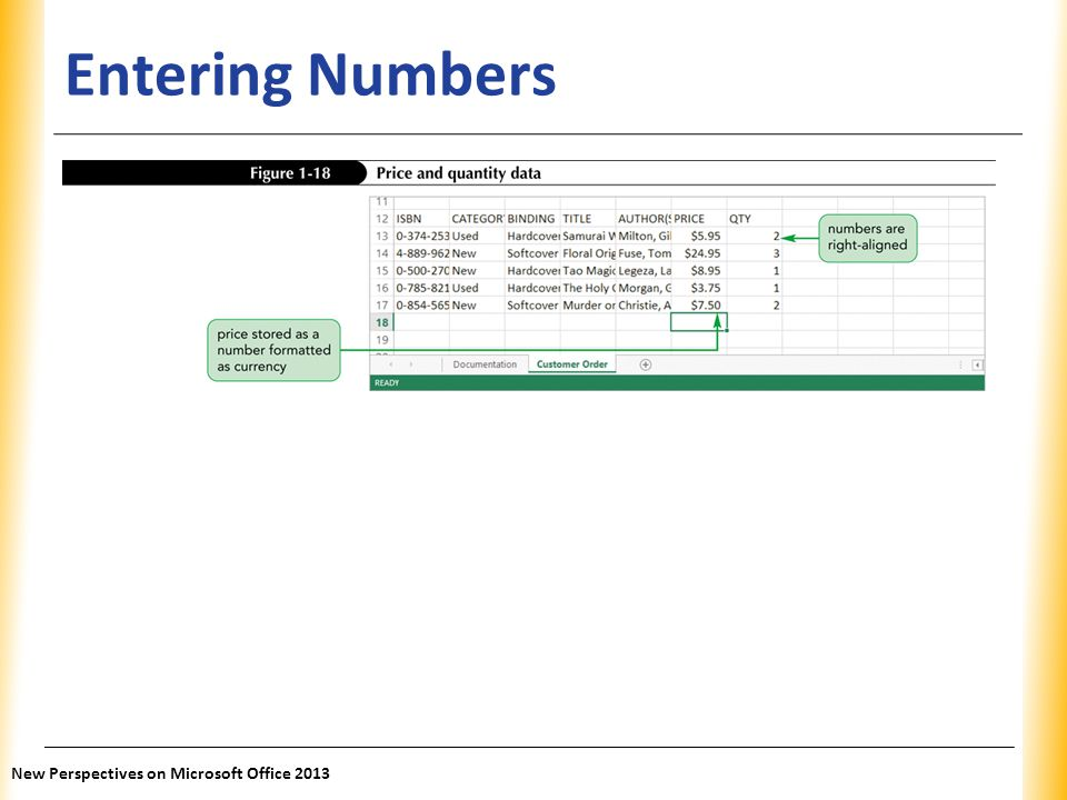 XP Entering Numbers New Perspectives on Microsoft Office 2013