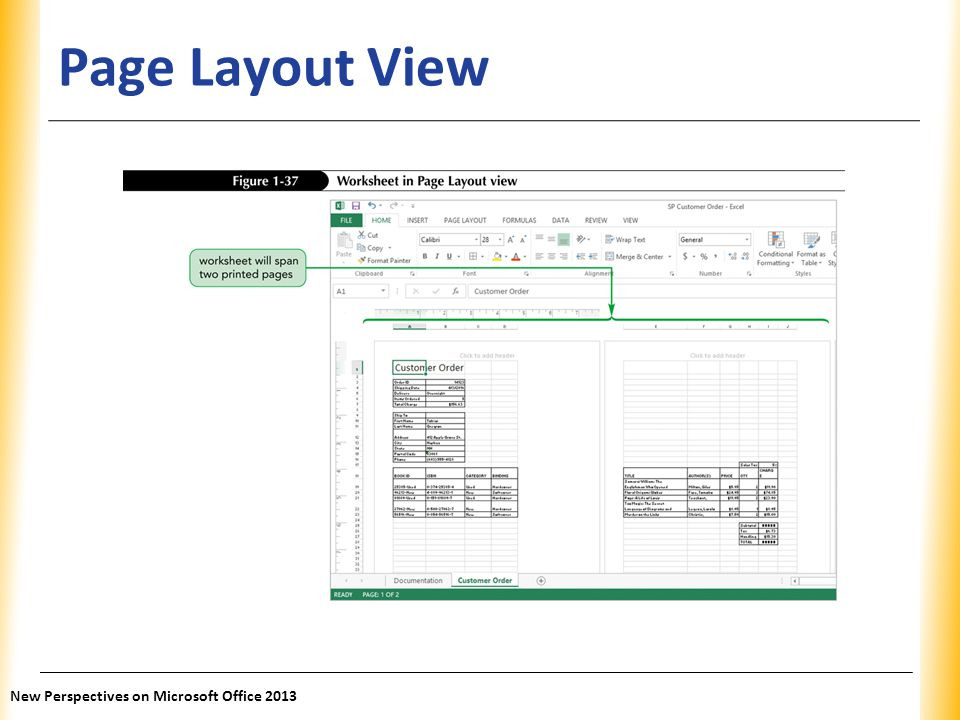 XP Page Layout View New Perspectives on Microsoft Office 2013