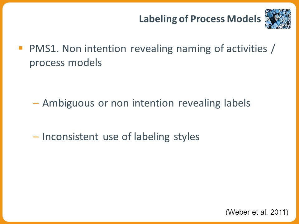 Example of Poor Labeling in SAP Reference Model  Poor labeling may lead to ambiguities –Plan a data transfer.