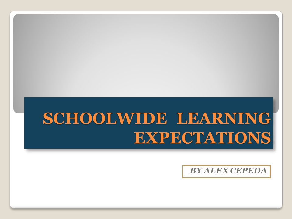 SCHOOLWIDE LEARNING EXPECTATIONS BY ALEX CEPEDA