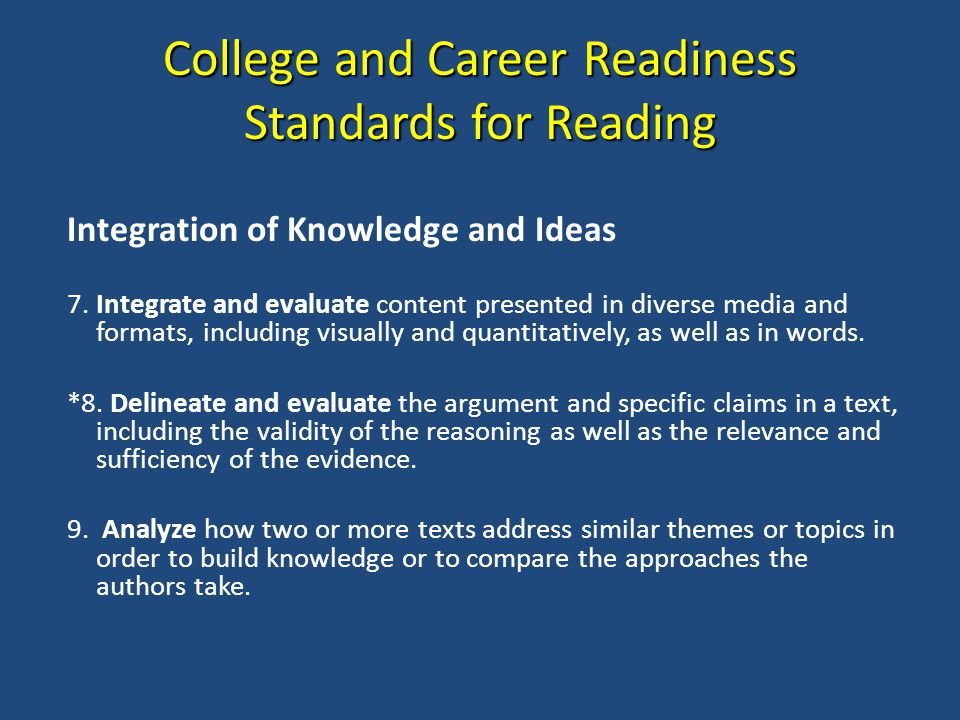 College and Career Readiness Standards for Reading Integration of Knowledge and Ideas 7.