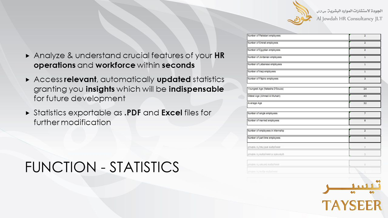 FUNCTION - STATISTICS  Analyze & understand crucial features of your HR operations and workforce within seconds  Access relevant, automatically updated statistics granting you insights which will be indispensable for future development  Statistics exportable as.PDF and Excel files for further modification
