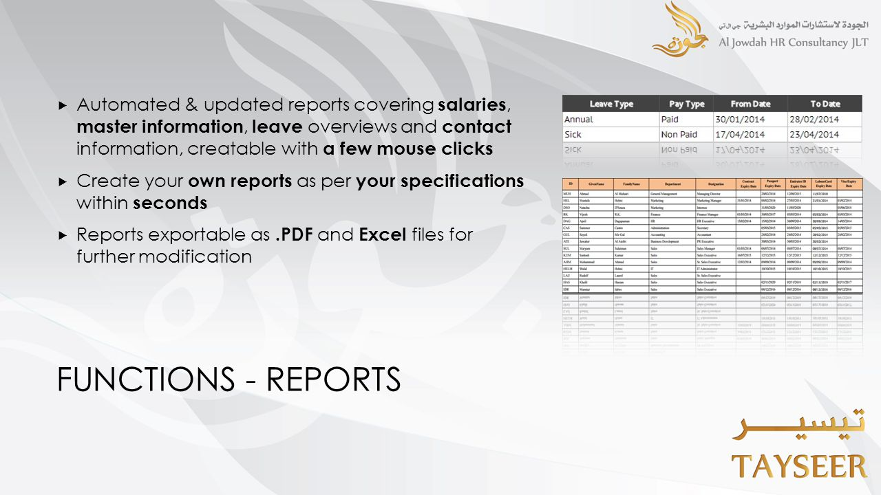 FUNCTIONS - REPORTS  Automated & updated reports covering salaries, master information, leave overviews and contact information, creatable with a few mouse clicks  Create your own reports as per your specifications within seconds  Reports exportable as.PDF and Excel files for further modification
