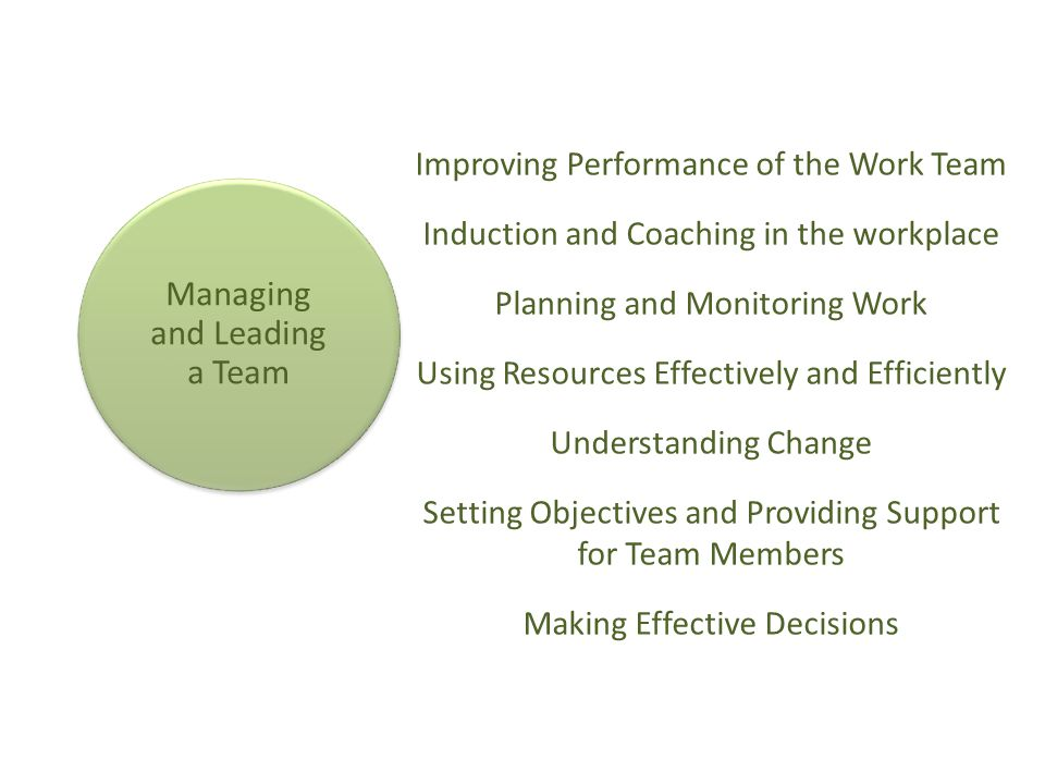 Managing and Leading a Team Improving Performance of the Work Team Induction and Coaching in the workplace Planning and Monitoring Work Using Resource