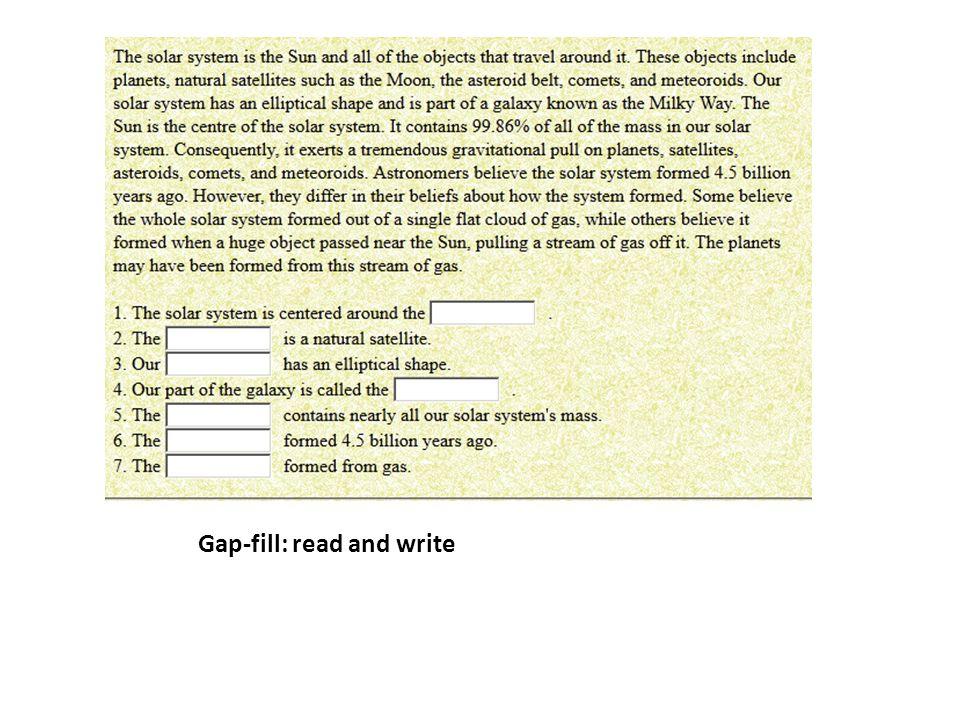 Gap-fill: crossword