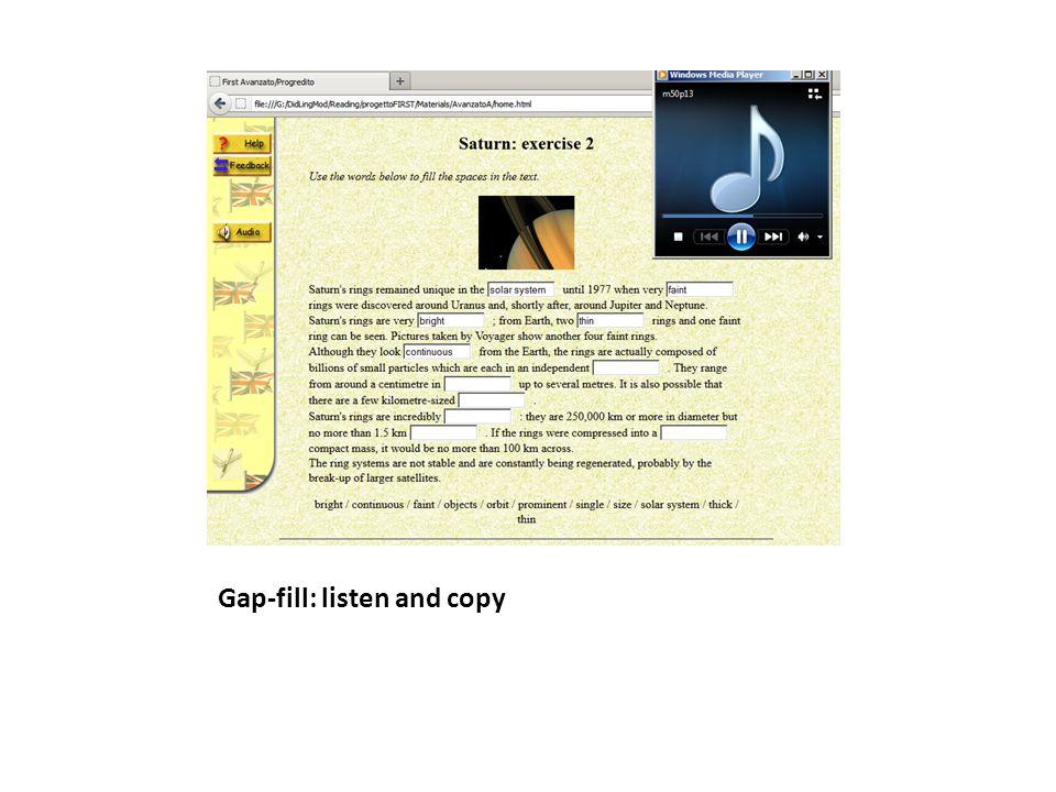 Gap-fill: dictation