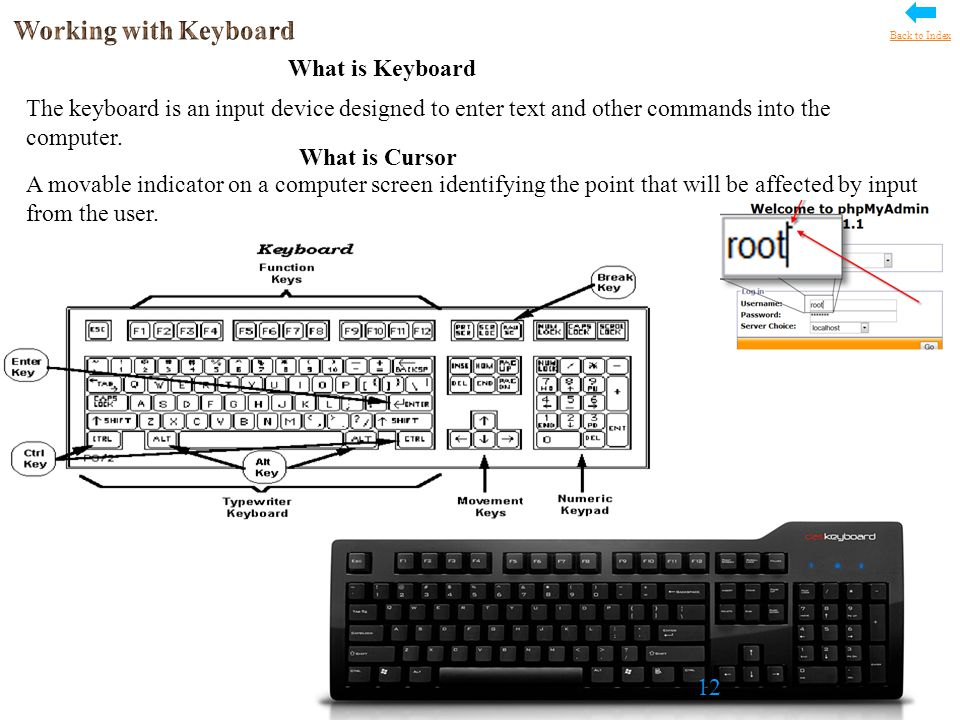 What is Keyboard The keyboard is an input device designed to enter text and other commands into the computer.