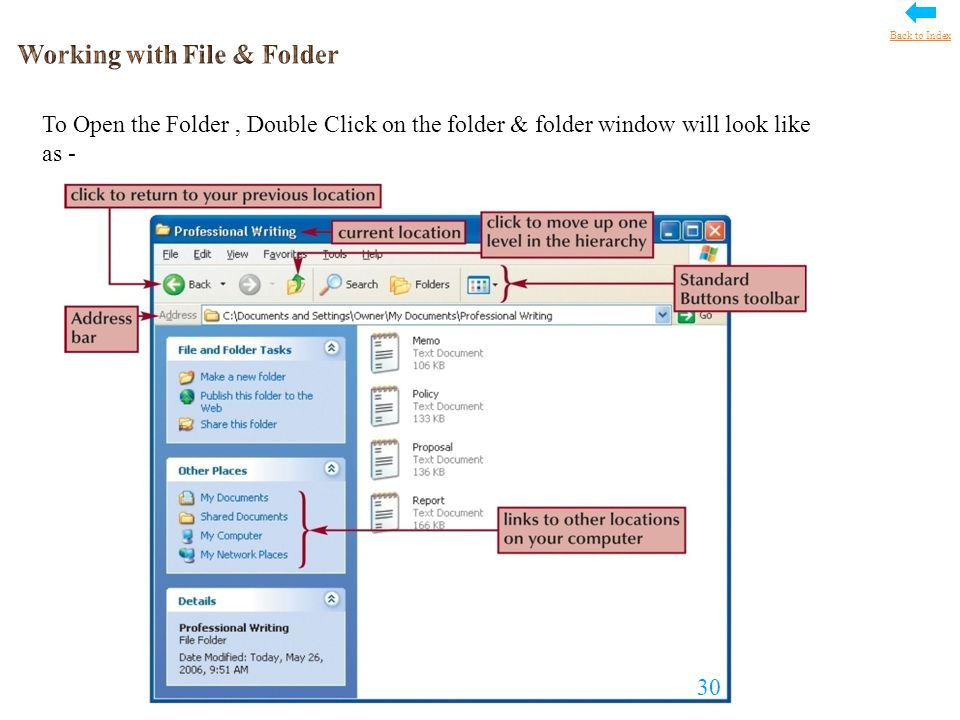To Open the Folder, Double Click on the folder & folder window will look like as - 30 Back to Index