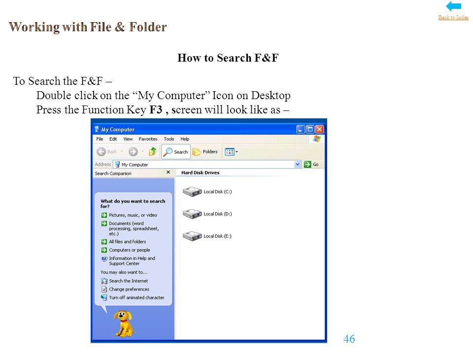 How to Search F&F To Search the F&F – Double click on the My Computer Icon on Desktop Press the Function Key F3, screen will look like as – 46 Back to Index