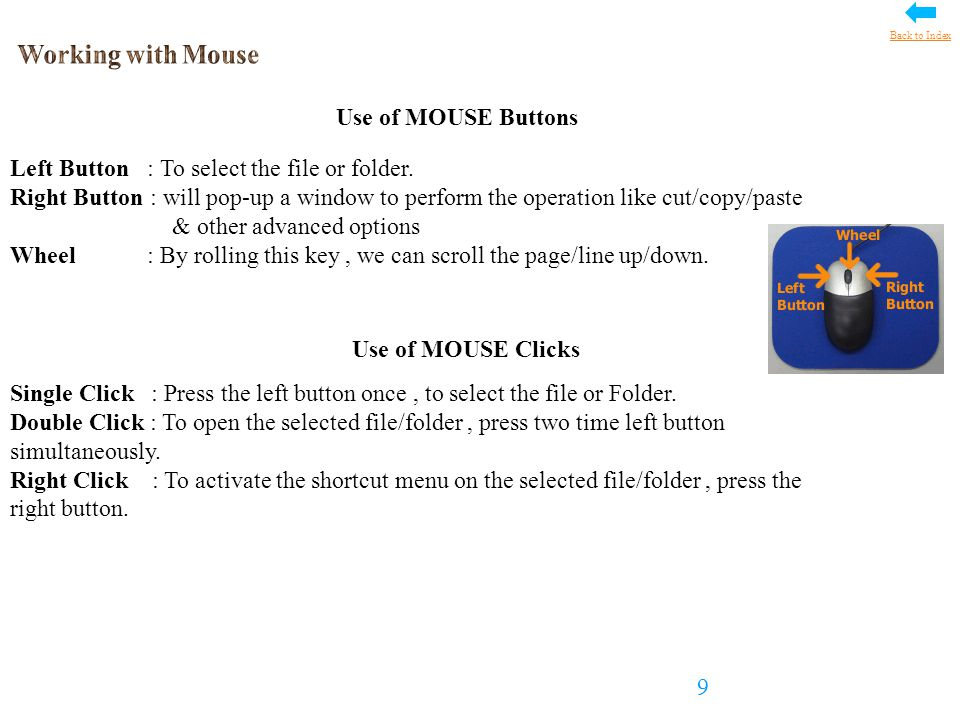 MOUSE Pointer Details Below is the list of Mouse Pointer/Cursor shape details for different operations 10 Back to Index
