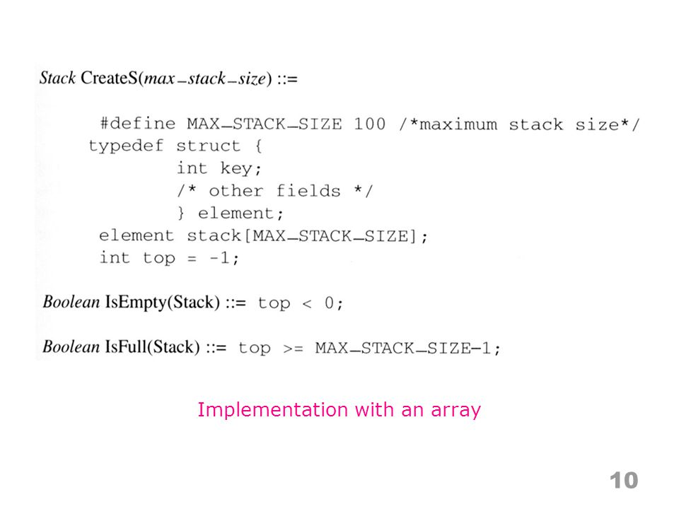 10 Implementation with an array